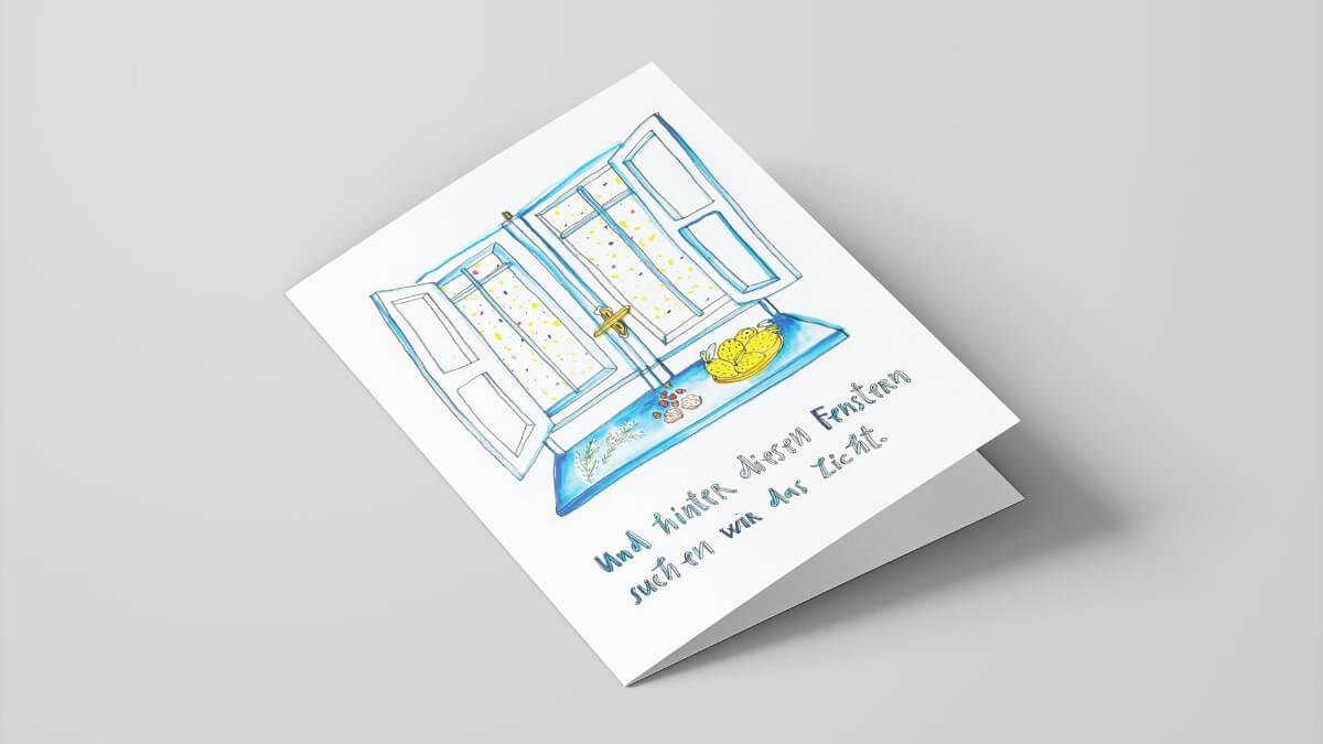 Matrosenhunde, Weihnachtskarte, Und hinter diesen Fenstern suchen wir das Licht